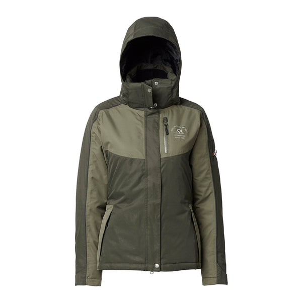 Mountain Horse Amber Jacket Olive Studio Front View Hood Up 03214