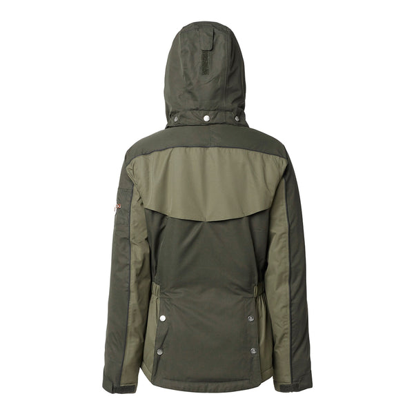 Mountain Horse Amber Jacket Olive Studio Rear View Hood Up 03214