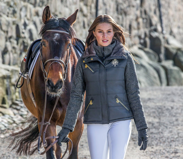 Mountain Horse Cheval Vest in Black worn by Rider with Horse