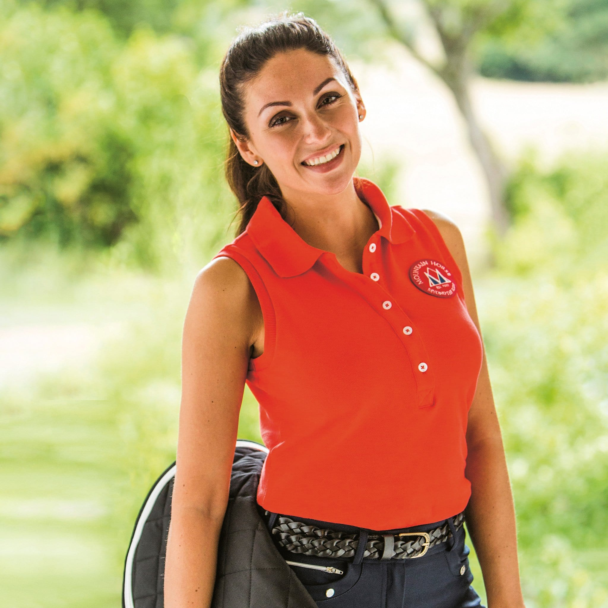 Mountain Horse Ella Sleeveless Polo Shirt Coral Lifestyle