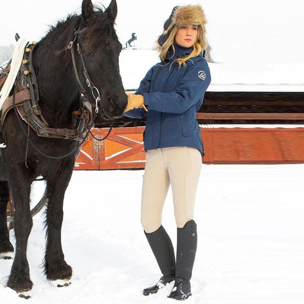 Mountain Horse Gracie Jacket Navy Lifestyle with Horse 03248