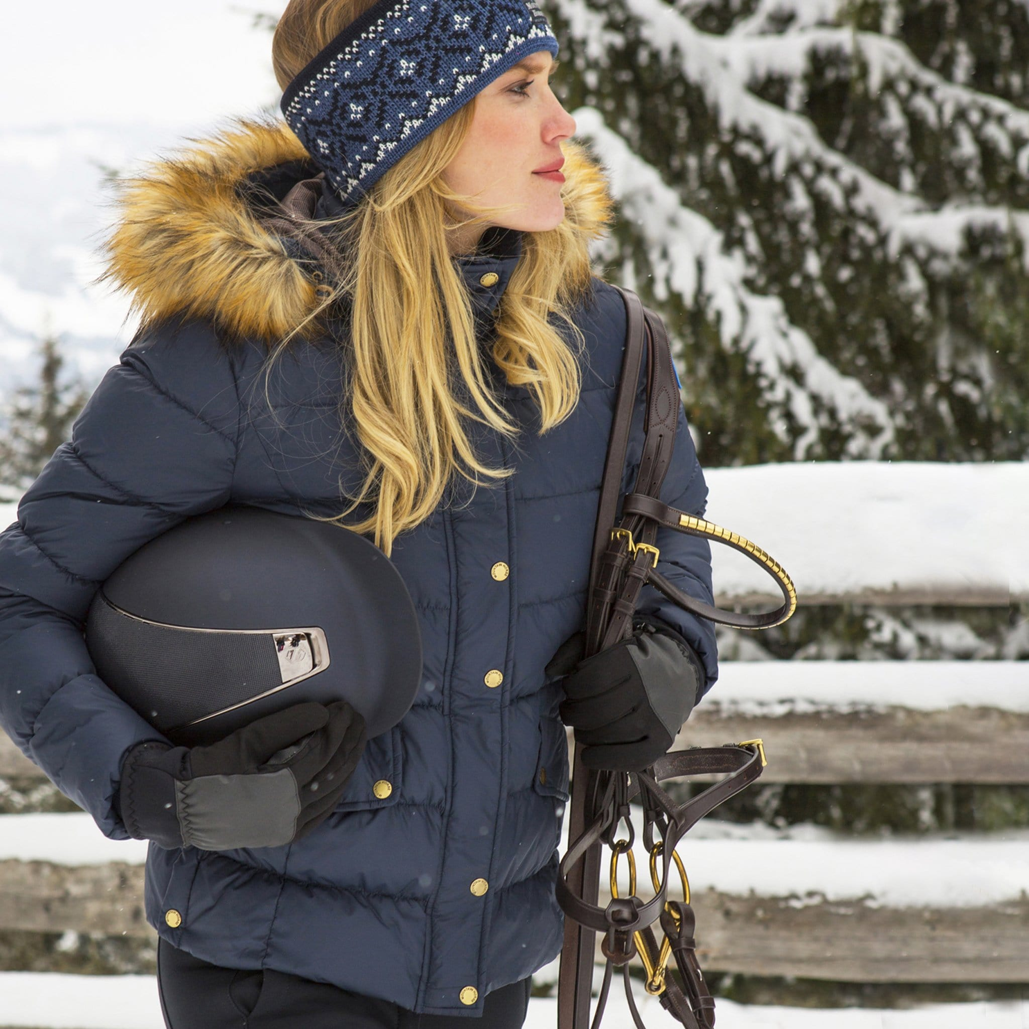 Mountain Horse Lauren Down Jacket Navy On Model With Bridle 03251