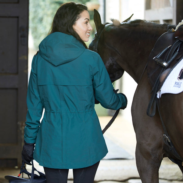 Noble Outfitters Cheval Waterproof Jacket Deep Teal Lifestyle with Hood 28516