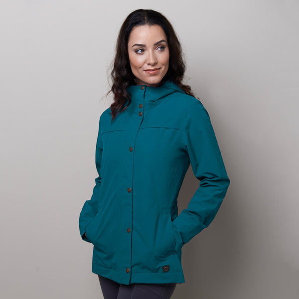 Noble Outfitters Cheval Waterproof Jacket Deep Teal On Model Front 28516