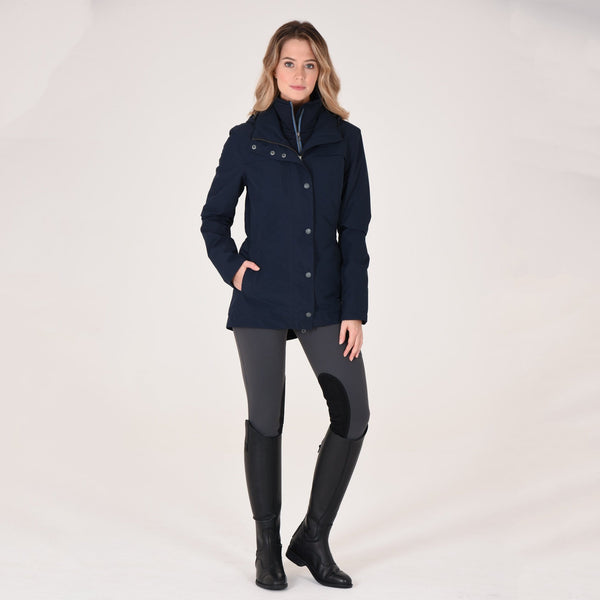 Noble Outfitters Cheval Waterproof Jacket Navy on Model Full Length View 28516