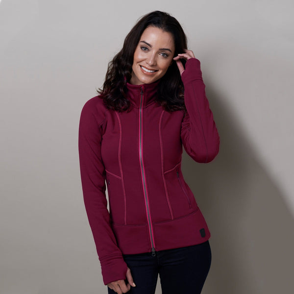 Noble Outfitters Explorer Fleece Jacket Cranberry on Model Front 28521