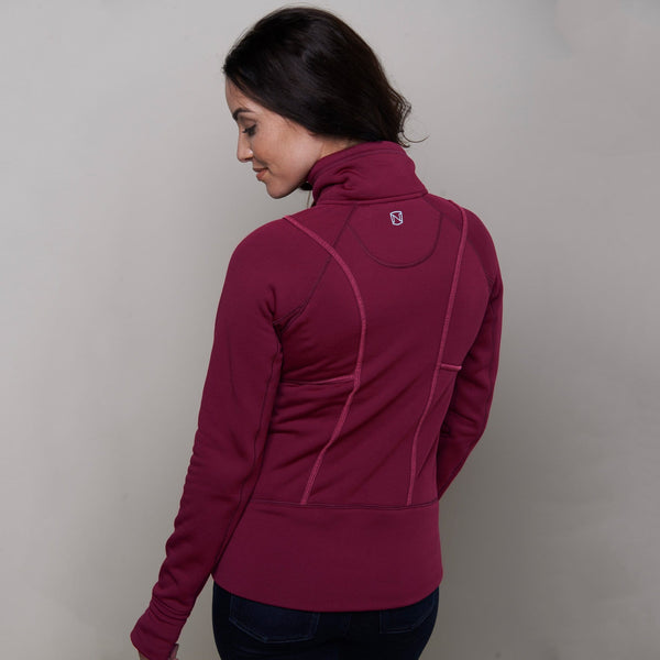 Noble Outfitters Explorer Fleece Jacket Cranberry on Model Rear View 28521