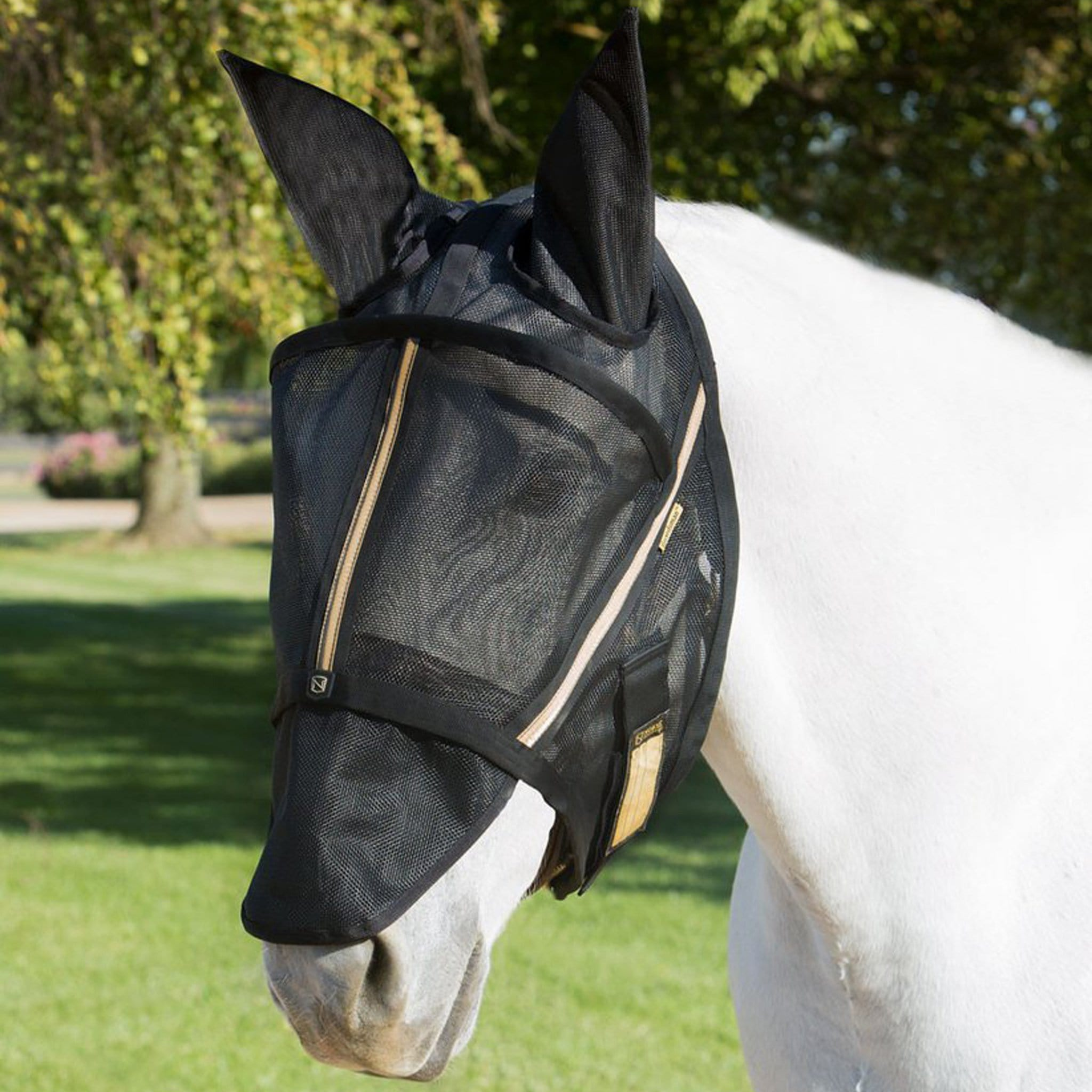 Noble Equestrian Guardsman Fly Mask With Ears Black 75002