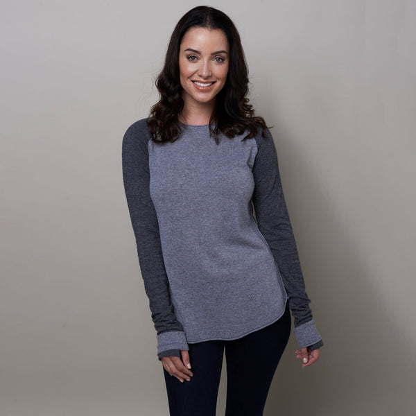 Noble Outfitters Homerun Crew Top Grey Charcoal On Model Front View 27003