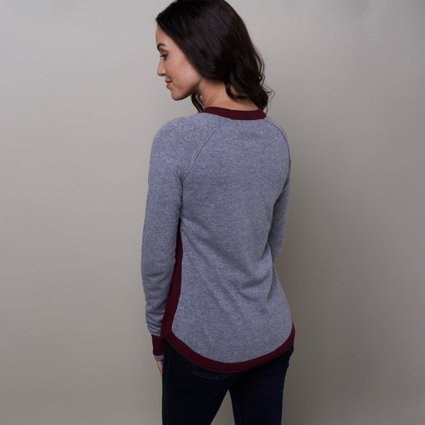 Noble Outfitters Homerun Crew Top Fig Grey On Model Rear View 27003