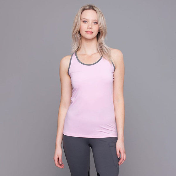 Noble Outfitters Kahla Racer Back Riding Top Sweet Lilac On Model Front 20500
