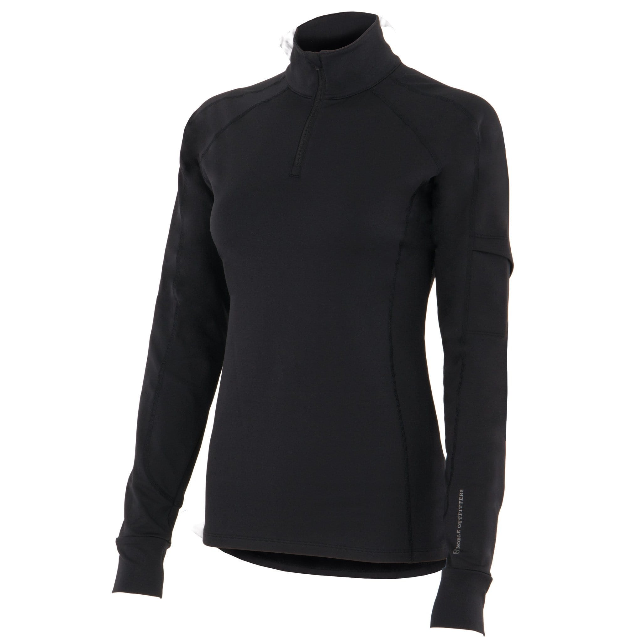Noble Equestrian Lauren Quarter Zip Mock Top Black Studio 21507