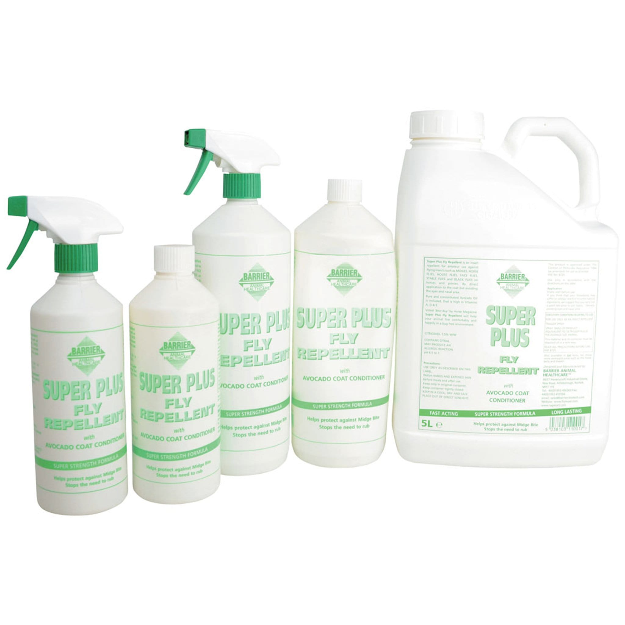 Barrier Super Plus Fly Repellent Spray 8466 500ml spray, 500ml refill bottle, 1 litre spray, 1 litre refill bottle, and 5 litre refill bottle