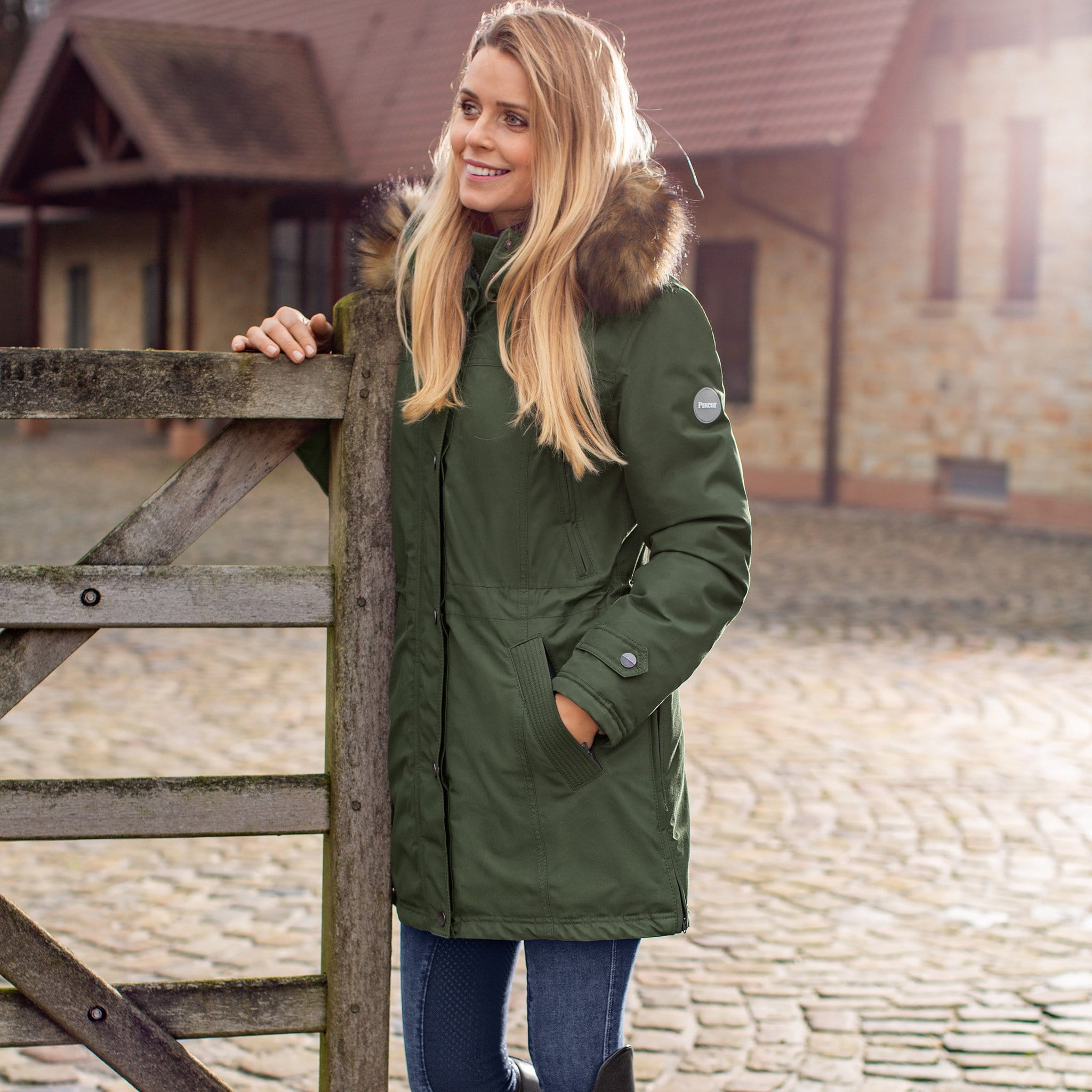 Pikeur Omira Parka Coat 402001 Thyme Green On Model