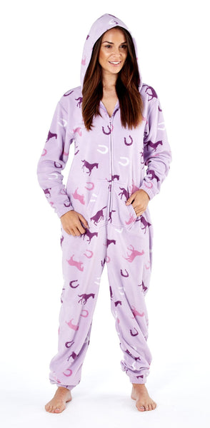 Platinum Classic Ladies Onesie Lilac Hood Up PLA000026