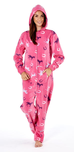 Platinum Classic Ladies Onesie Pink Hood Up PLA000026