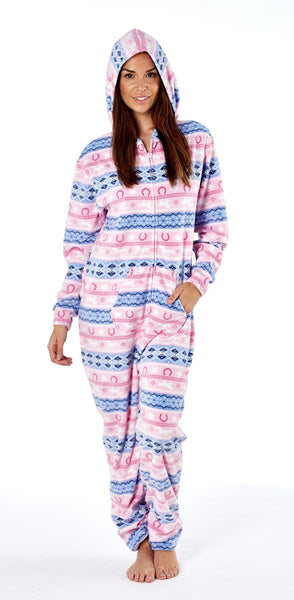 Platinum Fairisle Ladies Onesie Pink Hood Up PLA000024