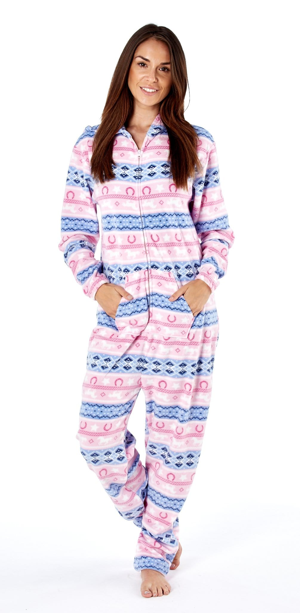 Platinum Fairisle Ladies Onesie Pink PLA000024