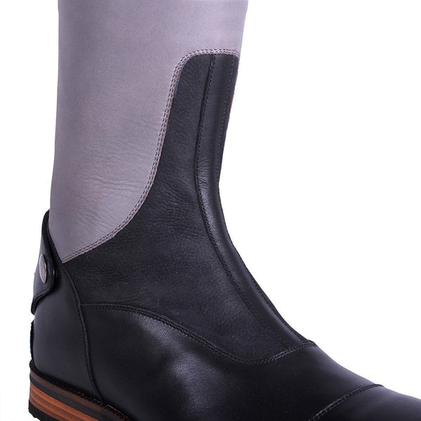 QHP Shiva Riding Boots Grey & Black Ankle Detail