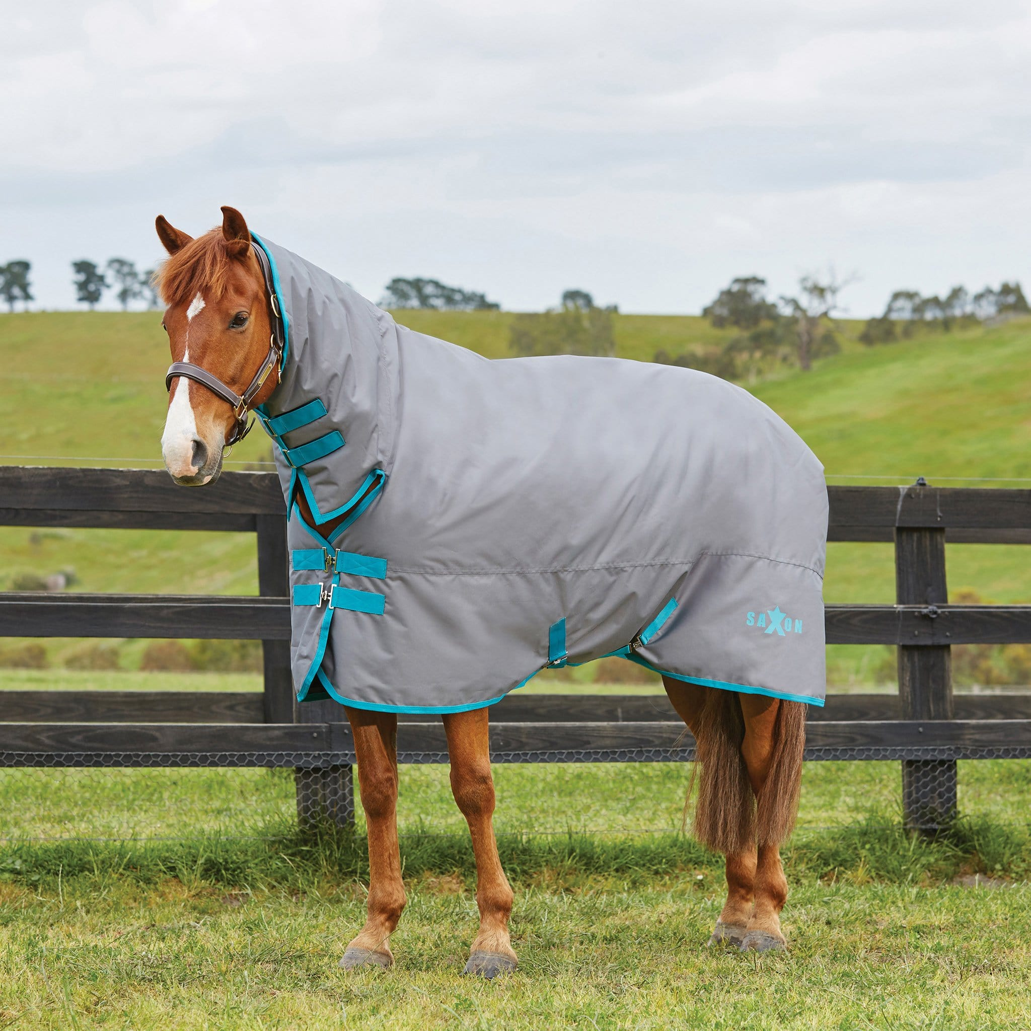 Saxon 600D Heavyweight Combo Turnout Rug Grey 808210