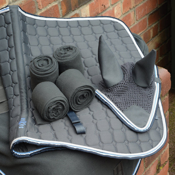 Saxon Coordinate Polar Fleece Rug Grey Matching Set 811866