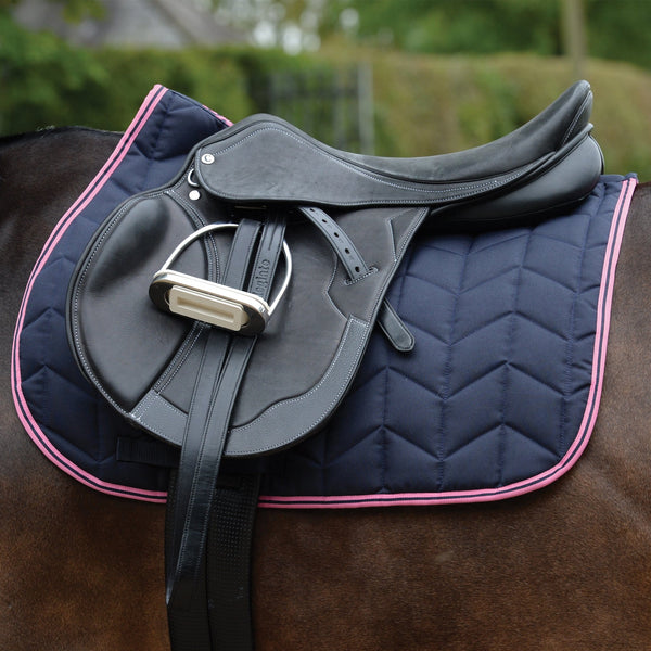 Saxon Element Quilted All Purpose Saddle Pad Navy and Pink Under Saddle 811825