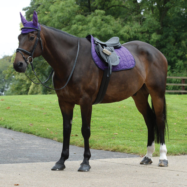 Saxon Element Quilted All Purpose Saddle Pad Purple and Navy with Ear Bonnet 811828