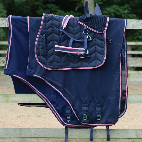 Saxon Element Fleece Headcollar Matching Set Navy and Pink 811843