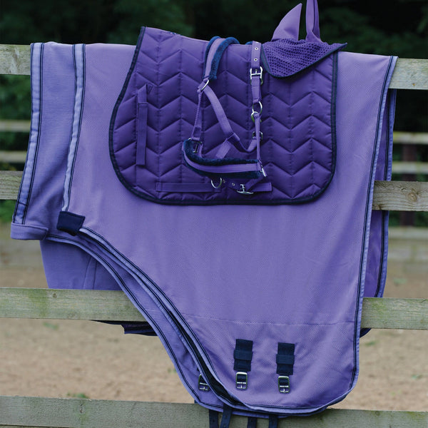 Saxon Element Fleece Headcollar Matching Set Purple and Navy 811846