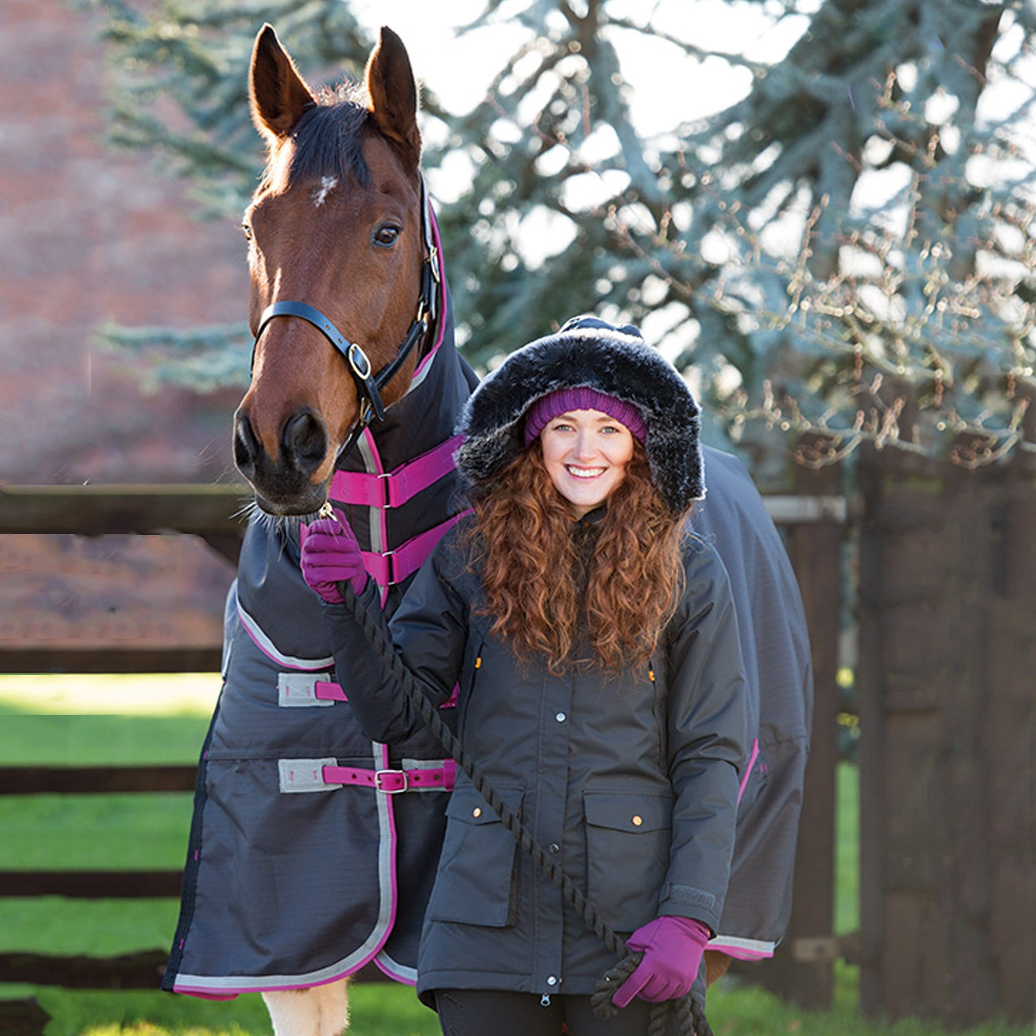 Shires Aubrion Arlington Coat Model With Horse 9101