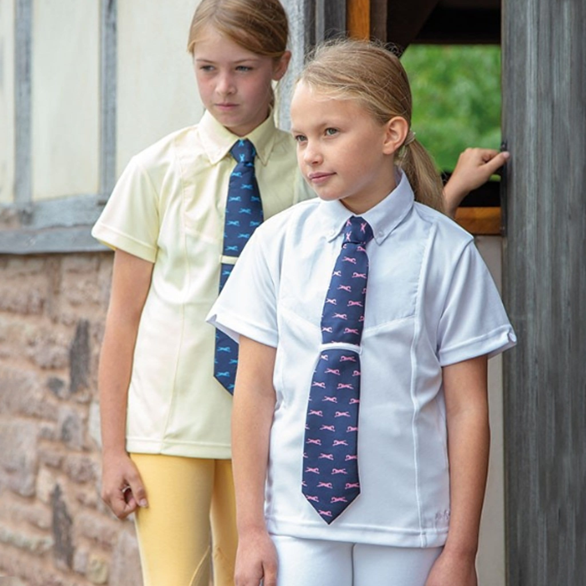 Shires Children's Aubrion Tie Short Sleeve Show Shirt White and Yellow on Models 9997