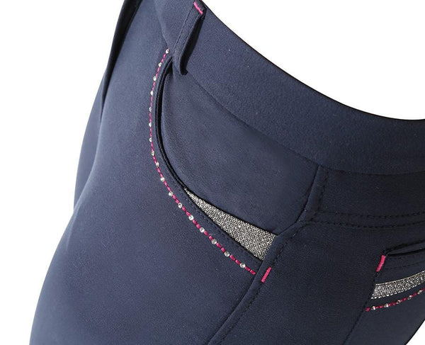 Shires Ladies Performance Bloomsbury Breeches Navy Front Pocket Detail 8822