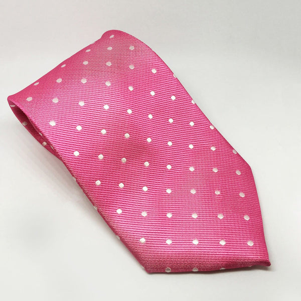 Equetech Polka Dot Show Tie TLS Fuschia and White
