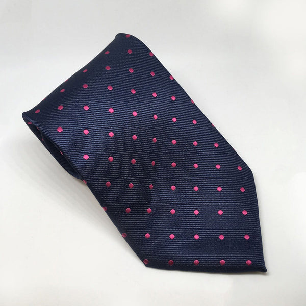 Equetech Polka Dot Show Tie TLS Navy and Cerise