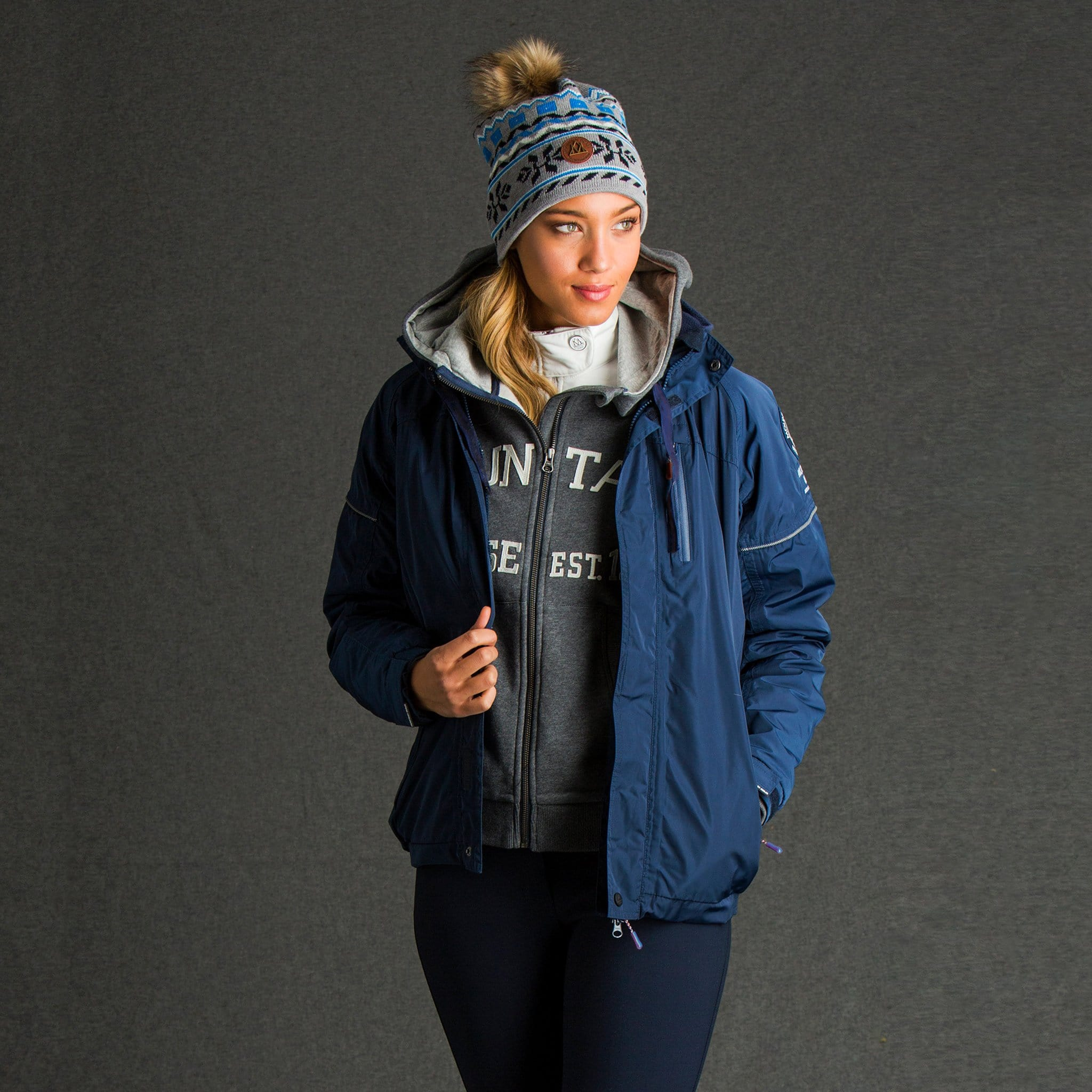 Mountain Horse Team Jacket Navy on Female Model 03202