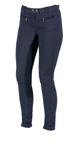Toggi Somerford Ladies Full Seat Jodhpurs in Blue Denim Front View
