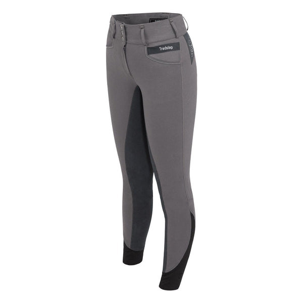 Tredstep Solo Volte Full Seat Breeches in Grey Front View