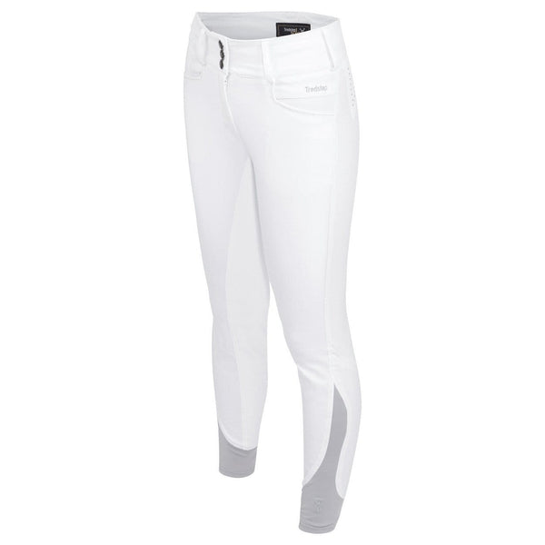 Tredstep Solo Volte Full Seat Breeches in White Front View