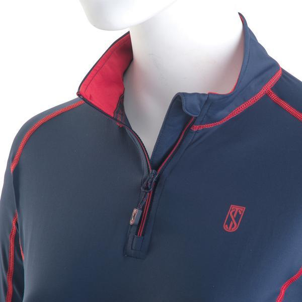 Tredstep Symphony Futura Long Sleeved Sport Top Navy Close Up Collar