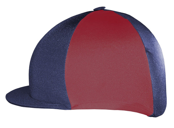 Saddlecraft Two Tone Lycra Hat Cover - Navy and Burgundy | EQUUS