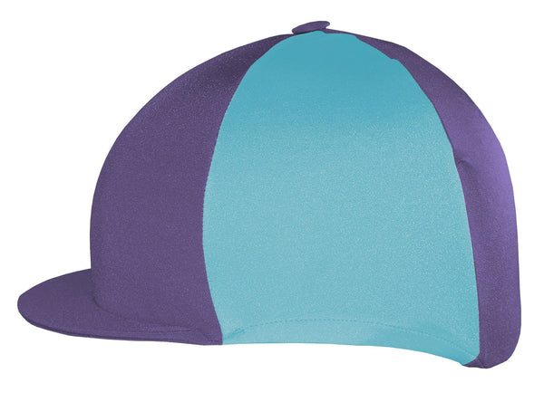 Saddlecraft Two Tone Lycra Hat Cover - Purple and Kingfisher | EQUUS
