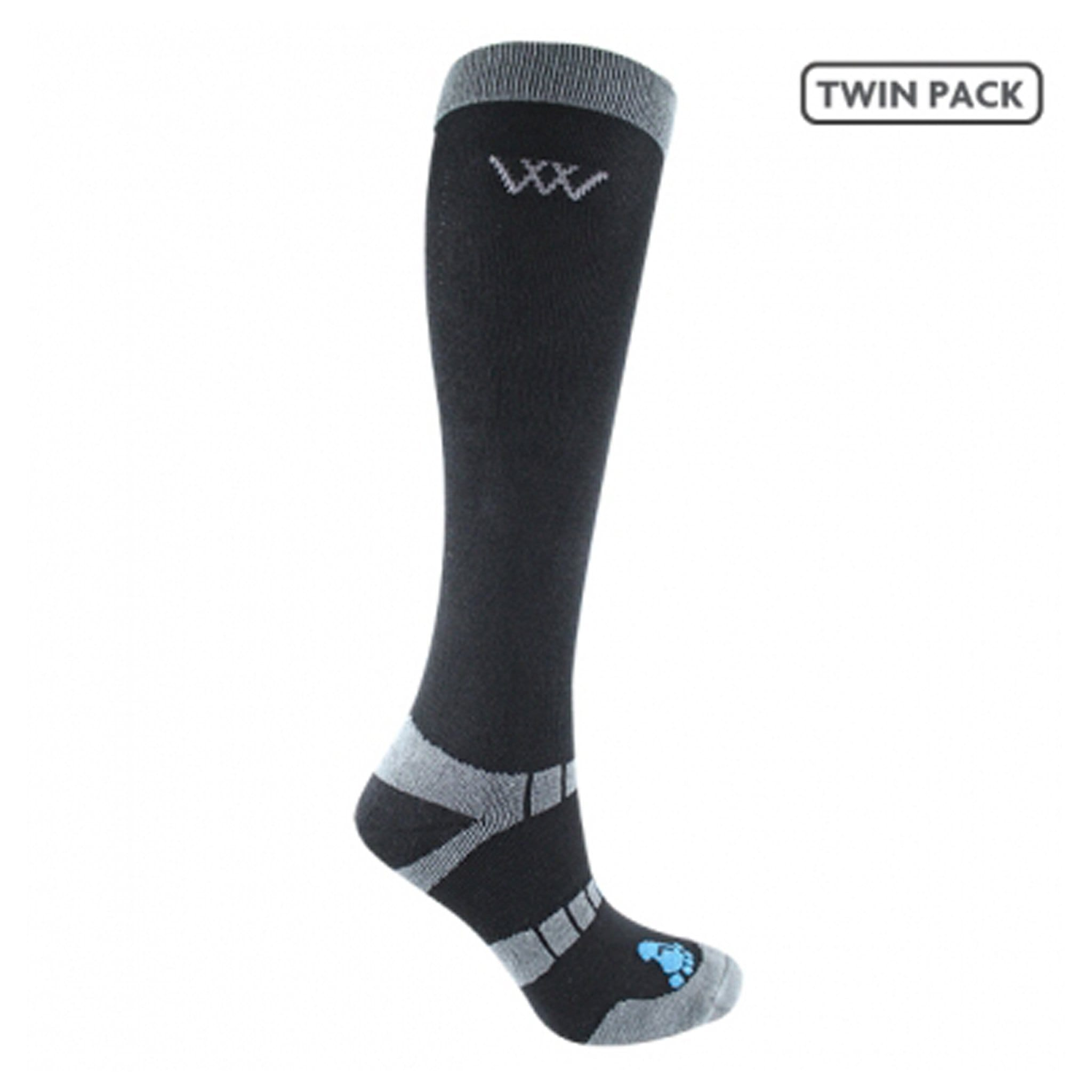 Woof Wear Waffle Knit Bamboo Long Riding Socks 2 Pack Black WW0017.