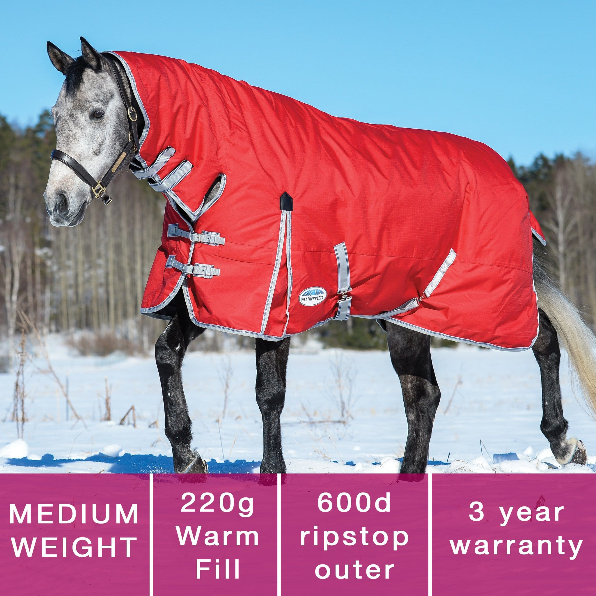 Weatherbeeta ComFiTec Classic Mediumweight Combo Neck Turnout Rug Red Features 801498