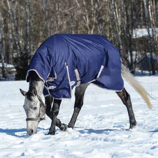 Weatherbeeta ComFiTec Essential Heavyweight Combo Turnout Rug Navy Playing in the Snow 801364