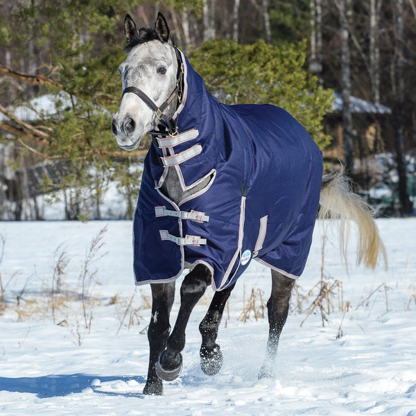Weatherbeeta ComFiTec Essential Mediumweight Combo Turnout Rug Navy Snow Front View 801378