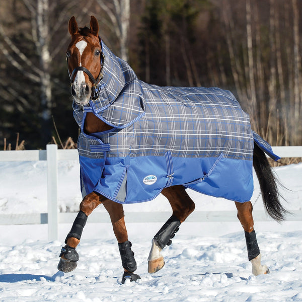 Weatherbeeta ComFiTec Premier Free Detach-A-Neck Mediumweight Turnout Rug Grey Plaid Trotting in the Snow 801045