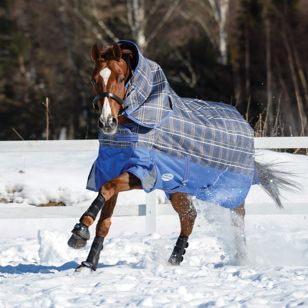 Weatherbeeta ComFiTec Premier Free Detach-A-Neck Mediumweight Turnout Rug Grey Plaid Playing in the Snow 801045