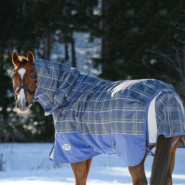 Weatherbeeta ComFiTec Premier Free Detach-A-Neck Mediumweight Turnout Rug Grey Plaid Rear View 801045
