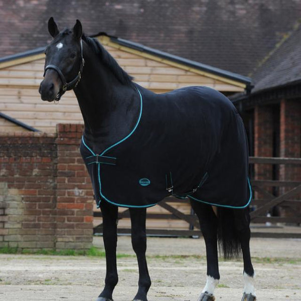 Weatherbeeta Jersey Cooler Standard Neck Rug in Black and Teal