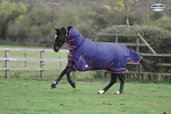 Weatherbeeta Original 1200D Combo Lite Turnout Rug in Navy and Red Galloping Horse 594608